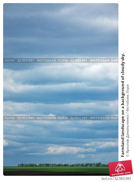 Farmland landscape on a background of cloudy sky. Стоковое фото, фотограф Ярослав Данильченко / Фотобанк Лори