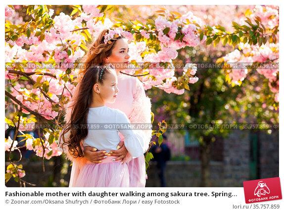 Fashionable mother with daughter walking among sakura tree. Spring... Стоковое фото, фотограф Zoonar.com/Oksana Shufrych / easy Fotostock / Фотобанк Лори