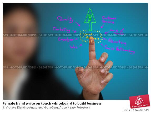 Female hand write on touch whiteboard to build business. Стоковое фото, фотограф Vichaya Kiatying-Angsulee / easy Fotostock / Фотобанк Лори