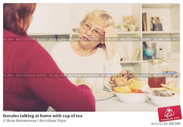 Купить «females talking at home with cup of tea», фото № 29396599, снято 22 ноября 2017 г. (c) Яков Филимонов / Фотобанк Лори