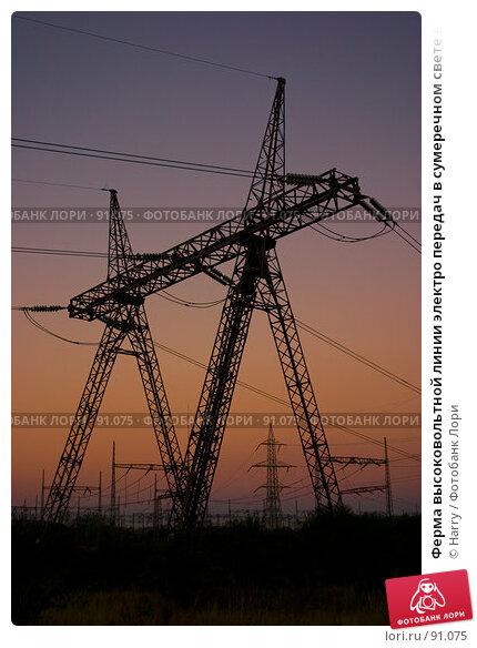 Ферма высоковольтной линии электро передач в сумеречном свете вечером, фото № 91075, снято 17 августа 2007 г. (c) Harry / Фотобанк Лори