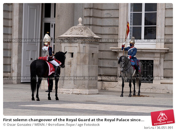 First solemn changeover of the Royal Guard at the Royal Palace since... Редакционное фото, фотограф Oscar Gonzalez / WENN / age Fotostock / Фотобанк Лори