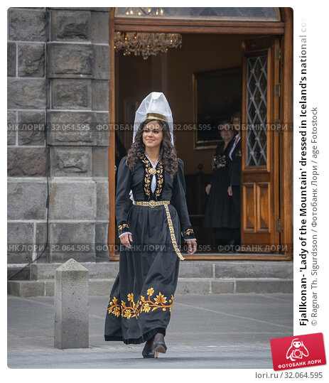 Fjallkonan- 'Lady of the Mountain' dressed in Iceland's national costume, Independence day, June 17th, Reykjavik, Iceland.. (2019 год). Редакционное фото, фотограф Ragnar Th. Sigurdsson / age Fotostock / Фотобанк Лори