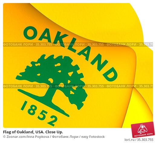 Flag of Oakland, USA. Close Up. Стоковое фото, фотограф Zoonar.com/Inna Popkova / easy Fotostock / Фотобанк Лори