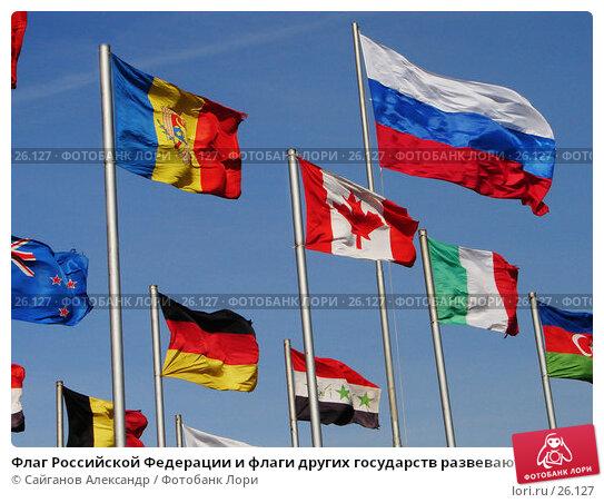 Флаг Российской Федерации и флаги других государств развеваются на ветру, фото № 26127, снято 22 марта 2007 г. (c) Сайганов Александр / Фотобанк Лори