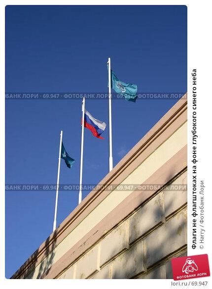 Флаги не флагштоках на фоне глубокого синего неба, фото № 69947, снято 2 июня 2007 г. (c) Harry / Фотобанк Лори
