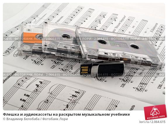 Купить «Флешка и аудиокассеты на раскрытом музыкальном учебнике», фото № 2064615, снято 19 октября 2010 г. (c) Владимир Белобаба / Фотобанк Лори