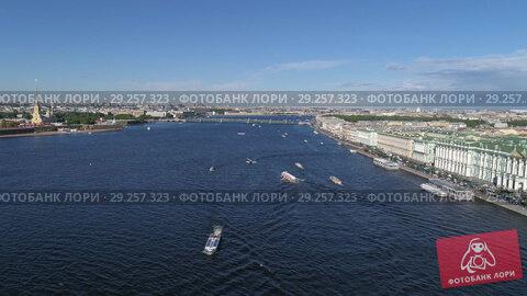 Купить «Flight over Neva River in center of St. Petersburg», видеоролик № 29257323, снято 5 сентября 2018 г. (c) Михаил Коханчиков / Фотобанк Лори