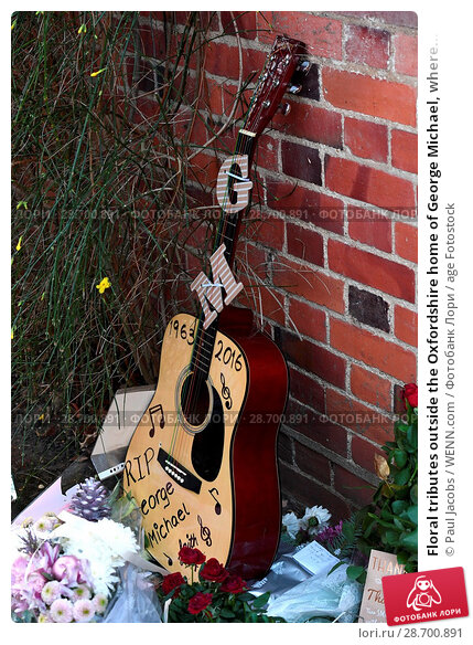 Купить «Floral tributes outside the Oxfordshire home of George Michael, where he was found dead on Christmas Day at Goring-on-Thames Featuring: Atmosphere Where...», фото № 28700891, снято 28 декабря 2016 г. (c) age Fotostock / Фотобанк Лори