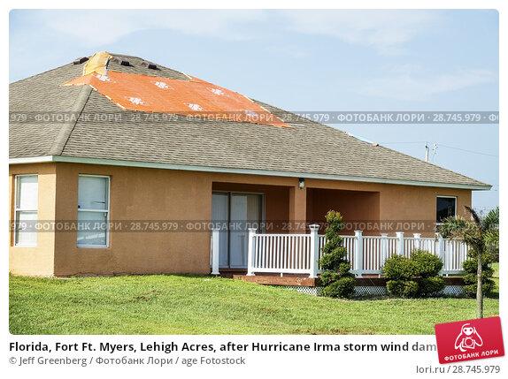 Купить «Florida, Fort Ft. Myers, Lehigh Acres, after Hurricane Irma storm wind damage destruction aftermath, tarp waterproof covering roof, house home residence, exterior,», фото № 28745979, снято 25 сентября 2017 г. (c) age Fotostock / Фотобанк Лори