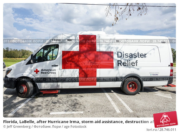 Купить «Florida, LaBelle, after Hurricane Irma, storm aid assistance, destruction aftermath, disaster recovery relief, Red Cross Disaster Relief, van,», фото № 28746011, снято 26 сентября 2017 г. (c) age Fotostock / Фотобанк Лори