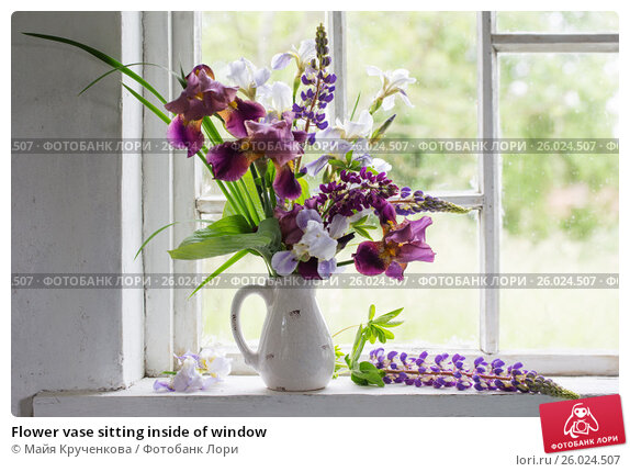 Flower vase sitting inside of window, фото № 26024507, снято 6 июня 2016 г. (c) Майя Крученкова / Фотобанк Лори