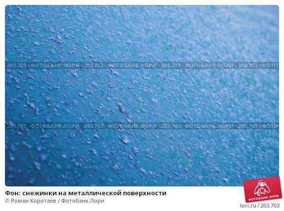 Купить «Фон: снежинки на металлической поверхности», фото № 203703, снято 1 января 2008 г. (c) Роман Коротаев / Фотобанк Лори
