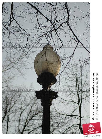 Фонарь на фоне неба и веток, фото № 1027, снято 1 марта 2006 г. (c) Юлия Яковлева / Фотобанк Лори