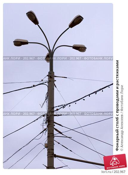 Фонарный столб с проводами и растяжками, эксклюзивное фото № 202967, снято 11 февраля 2008 г. (c) Александр Алексеев / Фотобанк Лори