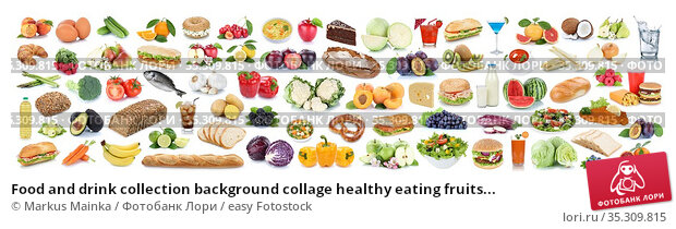 Food and drink collection background collage healthy eating fruits... Стоковое фото, фотограф Markus Mainka / easy Fotostock / Фотобанк Лори