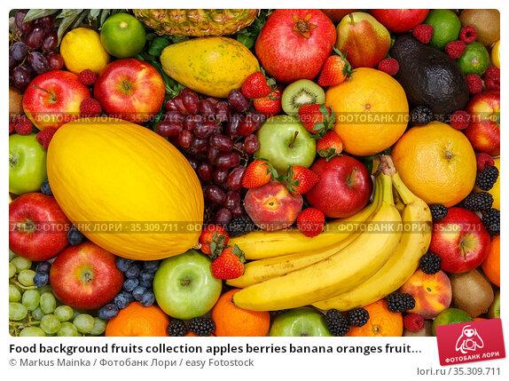 Food background fruits collection apples berries banana oranges fruit... Стоковое фото, фотограф Markus Mainka / easy Fotostock / Фотобанк Лори