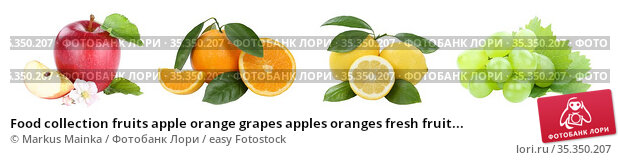 Food collection fruits apple orange grapes apples oranges fresh fruit... Стоковое фото, фотограф Markus Mainka / easy Fotostock / Фотобанк Лори