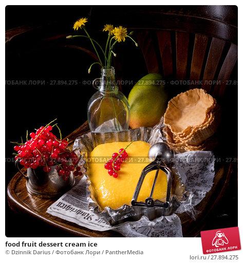 Купить «food fruit dessert cream ice», фото № 27894275, снято 20 апреля 2019 г. (c) PantherMedia / Фотобанк Лори