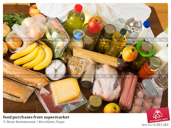 Купить «food purchases from supermarket», фото № 6561283, снято 14 декабря 2017 г. (c) Яков Филимонов / Фотобанк Лори