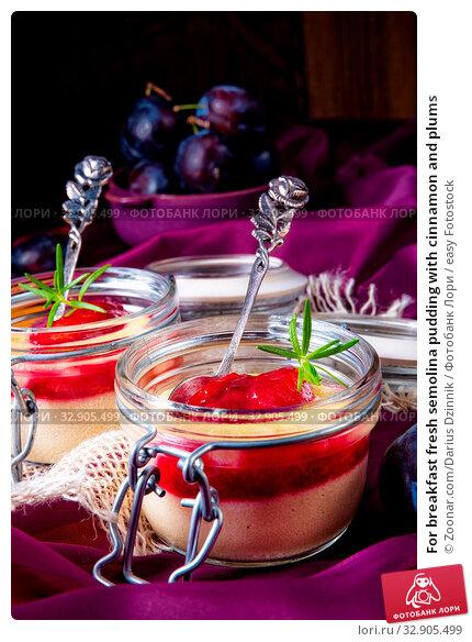 For breakfast fresh semolina pudding with cinnamon and plums. Стоковое фото, фотограф Zoonar.com/Darius Dzinnik / easy Fotostock / Фотобанк Лори
