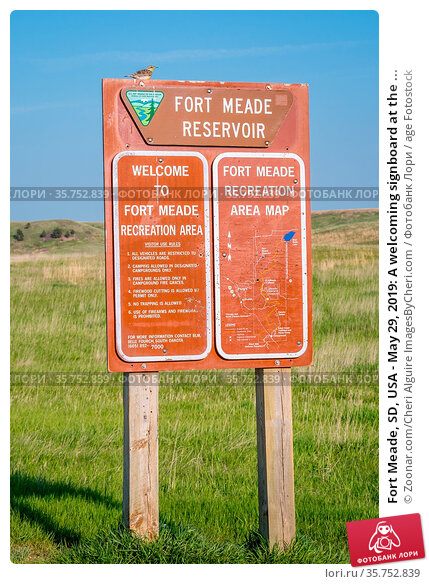Fort Meade, SD, USA - May 29, 2019: A welcoming signboard at the ... Стоковое фото, фотограф Zoonar.com/Cheri Alguire ImagesByCheri.com / age Fotostock / Фотобанк Лори