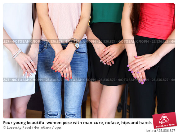 Купить «Four young beautiful women pose with manicure, noface, hips and hands», фото № 25836827, снято 21 июня 2016 г. (c) Losevsky Pavel / Фотобанк Лори