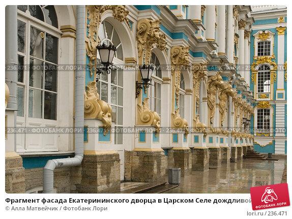 Фрагмент фасада Екатерининского дворца в Царском Селе дождливой осенью, фото № 236471, снято 31 октября 2007 г. (c) Алла Матвейчик / Фотобанк Лори