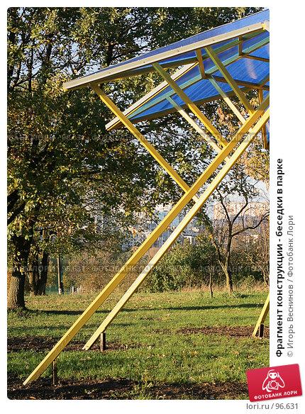 Купить «Фрагмент конструкции - беседки в парке», фото № 96631, снято 11 октября 2007 г. (c) Игорь Веснинов / Фотобанк Лори
