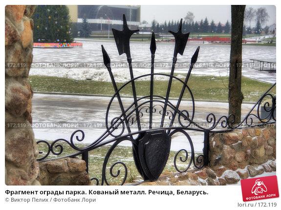 Купить «Фрагмент ограды парка. Кованый металл. Речица, Беларусь.», фото № 172119, снято 20 апреля 2018 г. (c) Виктор Пелих / Фотобанк Лори