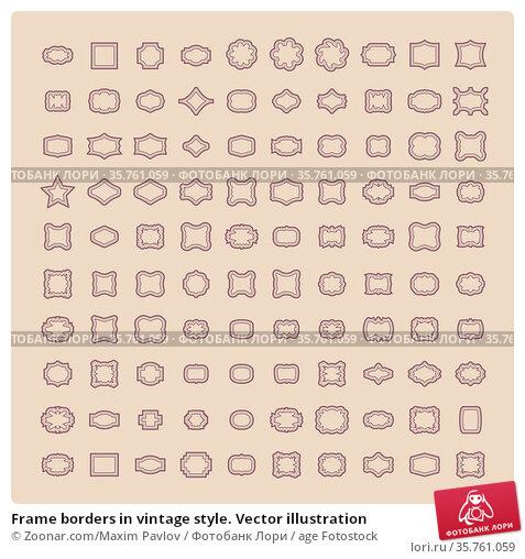 Frame borders in vintage style. Vector illustration. Стоковое фото, фотограф Zoonar.com/Maxim Pavlov / age Fotostock / Фотобанк Лори