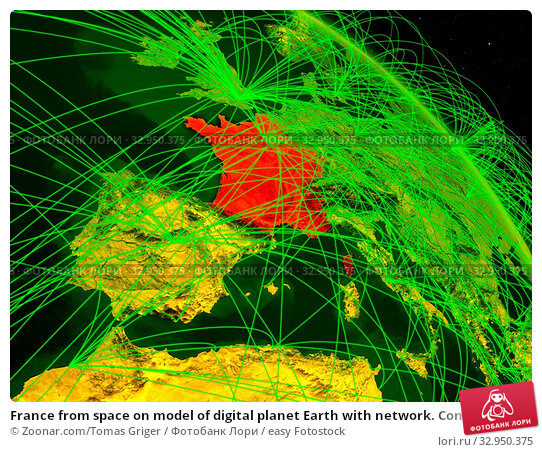 France from space on model of digital planet Earth with network. Concept of digital technology, connectivity and travel. 3D illustration. Elements of this image furnished by NASA. Стоковое фото, фотограф Zoonar.com/Tomas Griger / easy Fotostock / Фотобанк Лори