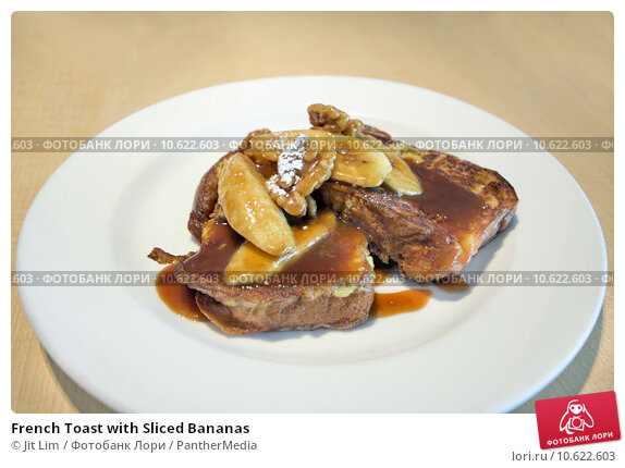 French Toast with Sliced Bananas. Стоковое фото, фотограф Jit Lim / PantherMedia / Фотобанк Лори