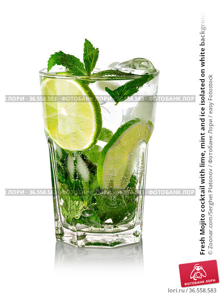 Fresh Mojito cocktail with lime, mint and ice isolated on white background... Стоковое фото, фотограф Zoonar.com/Serghei Platonov / easy Fotostock / Фотобанк Лори