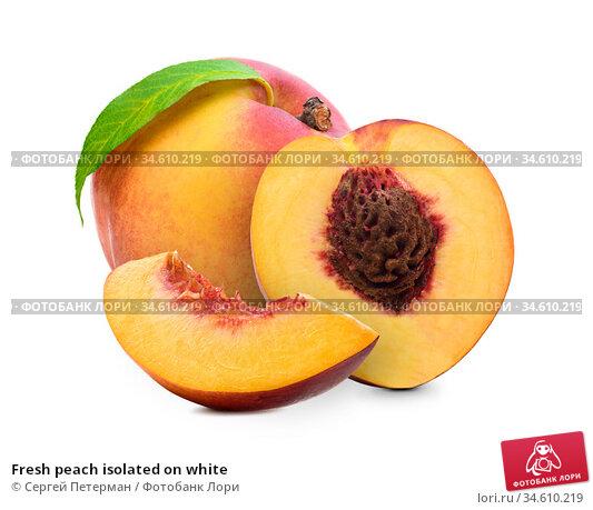 Fresh peach isolated on white. Стоковое фото, фотограф Сергей Петерман / Фотобанк Лори