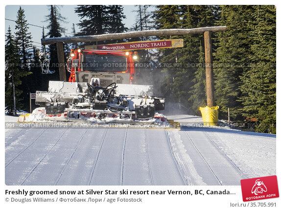 Freshly groomed snow at Silver Star ski resort near Vernon, BC, Canada... Стоковое фото, фотограф Douglas Williams / age Fotostock / Фотобанк Лори