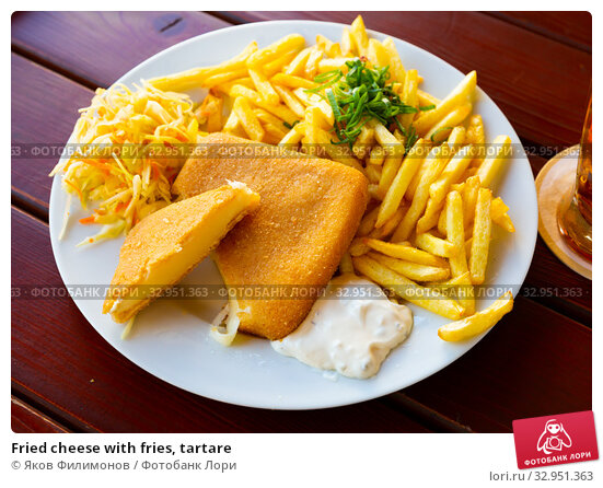 Fried cheese with fries, tartare. Стоковое фото, фотограф Яков Филимонов / Фотобанк Лори