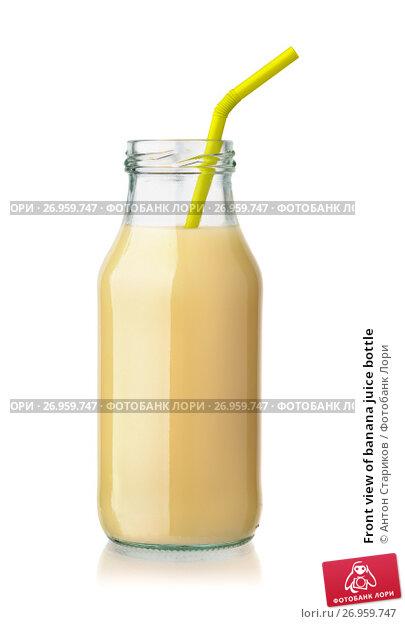 Купить «Front view of banana juice bottle», фото № 26959747, снято 13 августа 2017 г. (c) Антон Стариков / Фотобанк Лори