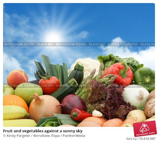Fruit and vegetables against a sunny sky. Стоковое фото, фотограф Kirsty Pargeter / PantherMedia / Фотобанк Лори