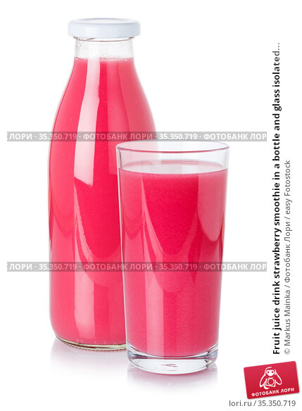 Fruit juice drink strawberry smoothie in a bottle and glass isolated... Стоковое фото, фотограф Markus Mainka / easy Fotostock / Фотобанк Лори