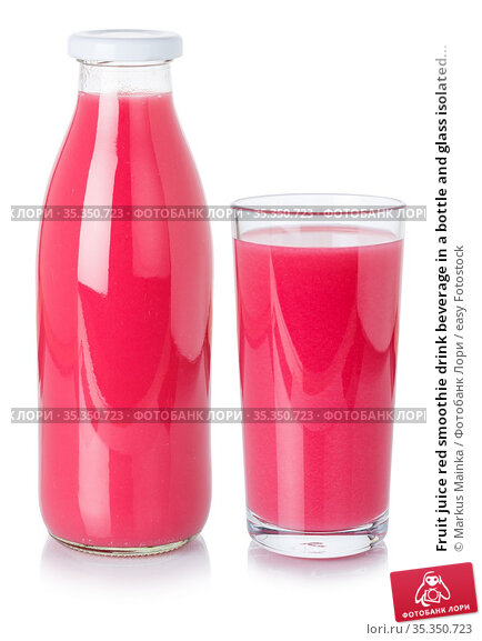 Fruit juice red smoothie drink beverage in a bottle and glass isolated... Стоковое фото, фотограф Markus Mainka / easy Fotostock / Фотобанк Лори