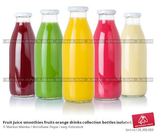Fruit juice smoothies fruits orange drinks collection bottles isolated... Стоковое фото, фотограф Markus Mainka / easy Fotostock / Фотобанк Лори