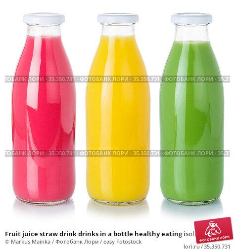 Fruit juice straw drink drinks in a bottle healthy eating isolated... Стоковое фото, фотограф Markus Mainka / easy Fotostock / Фотобанк Лори