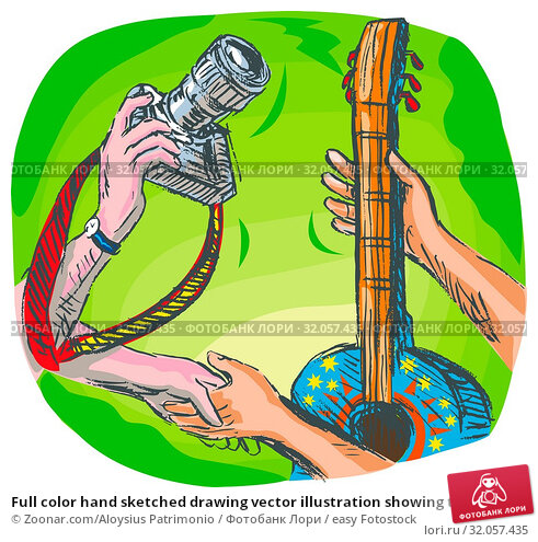 Full color hand sketched drawing vector illustration showing two hands swapping DSLR camera or photography shoot with guitar or guitar lessons. Стоковое фото, фотограф Zoonar.com/Aloysius Patrimonio / easy Fotostock / Фотобанк Лори