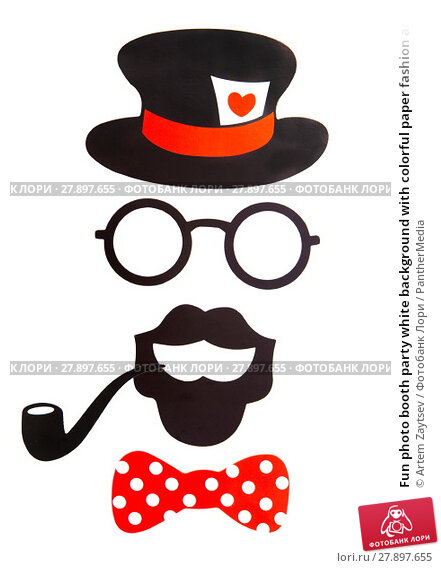 Купить «Fun photo booth party white background with colorful paper fashion accessories, lips, moustaches and balloons», фото № 27897655, снято 28 мая 2018 г. (c) PantherMedia / Фотобанк Лори