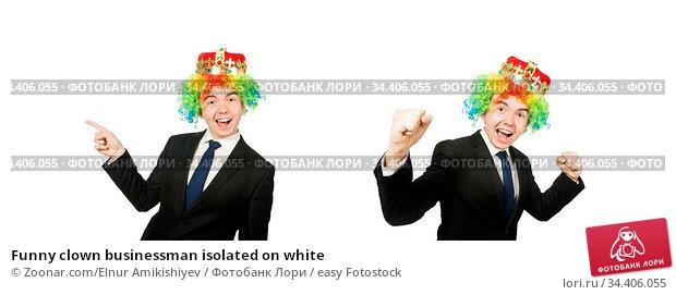 Funny clown businessman isolated on white. Стоковое фото, фотограф Zoonar.com/Elnur Amikishiyev / easy Fotostock / Фотобанк Лори