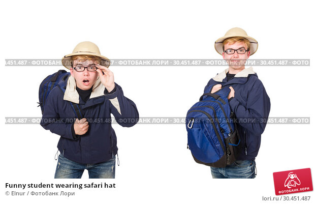 Funny student wearing safari hat. Стоковое фото, фотограф Elnur / Фотобанк Лори