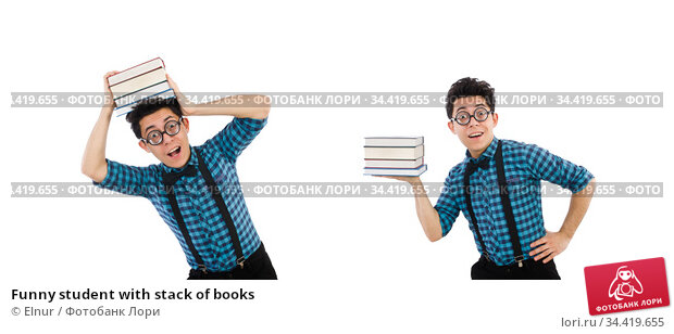 Funny student with stack of books. Стоковое фото, фотограф Elnur / Фотобанк Лори
