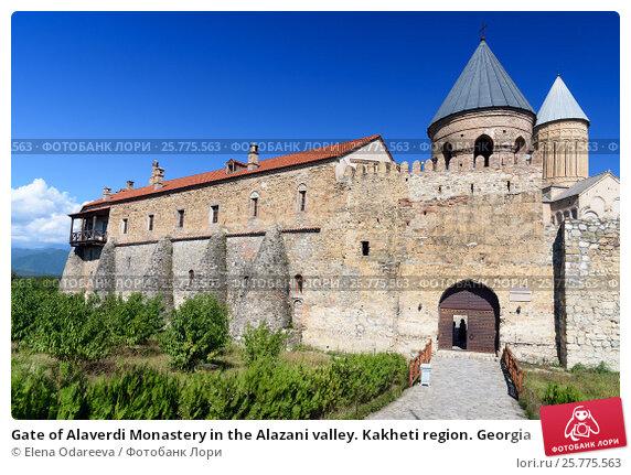 Купить «Gate of Alaverdi Monastery in the Alazani valley. Kakheti region. Georgia», фото № 25775563, снято 18 сентября 2016 г. (c) Elena Odareeva / Фотобанк Лори