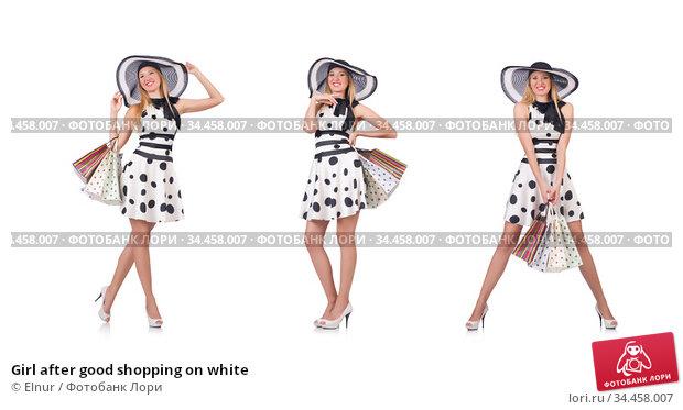 Girl after good shopping on white. Стоковое фото, фотограф Elnur / Фотобанк Лори